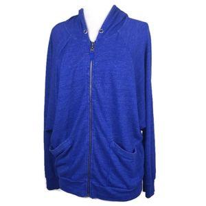 Splendid Blue Heathered Zipper Oversized Hoodie